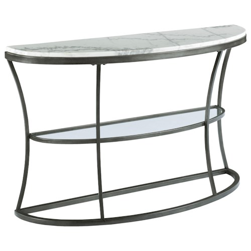 Hammary Impact Demilune Console Table with Marble Top and Glass Shelf