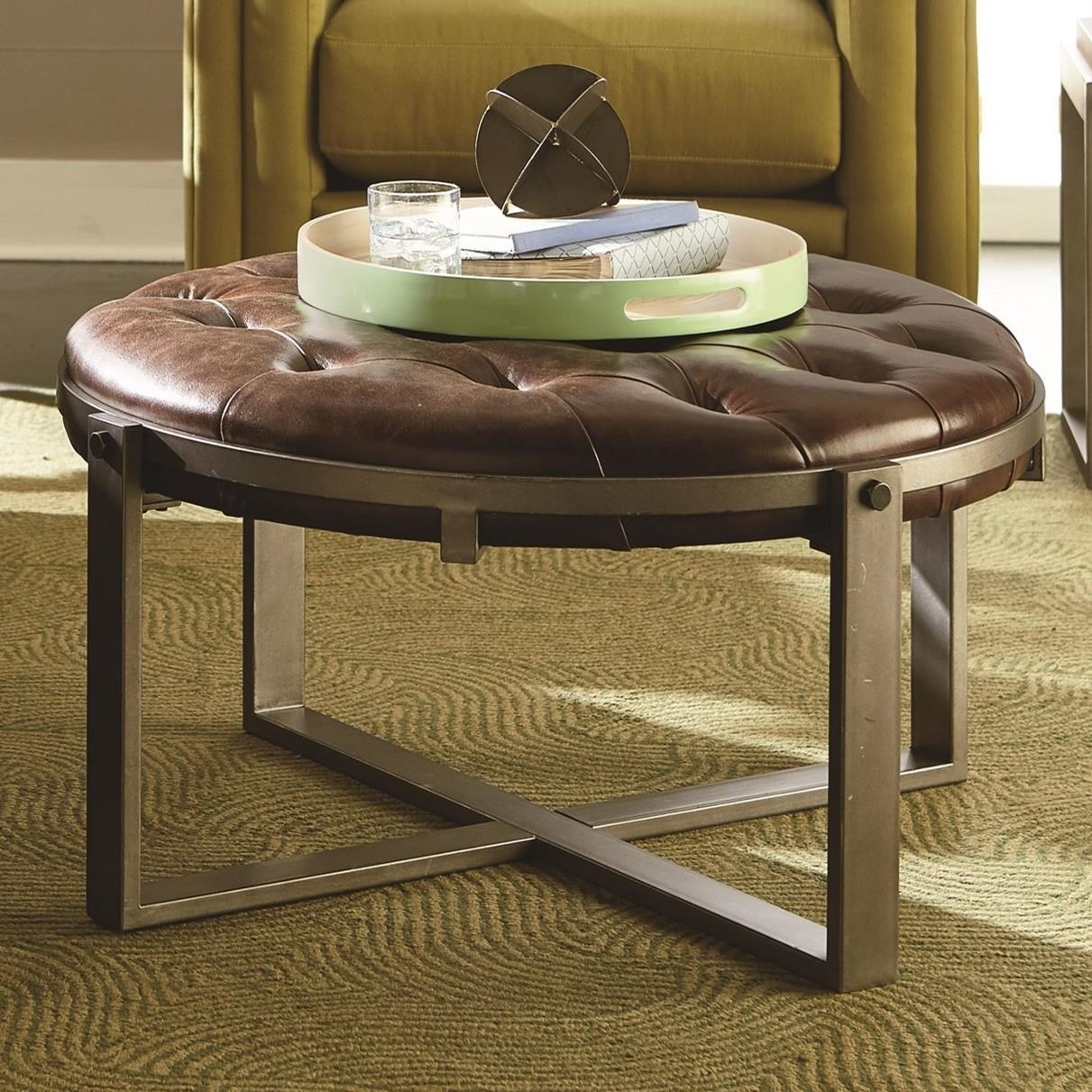 - Hammary Intermix Industrial Round Cocktail Table With Tufted