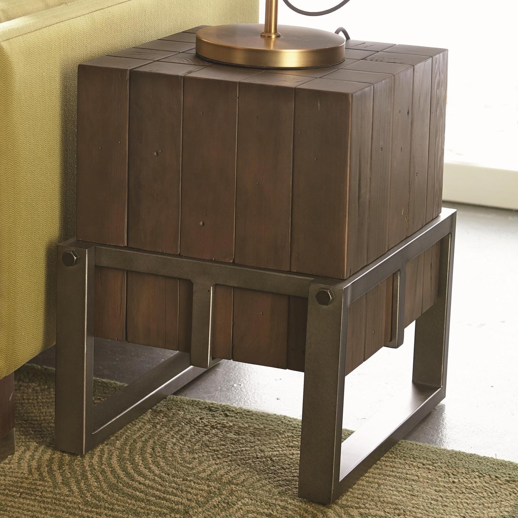 - Hammary Intermix Industrial Accent Table With Wood Timbers