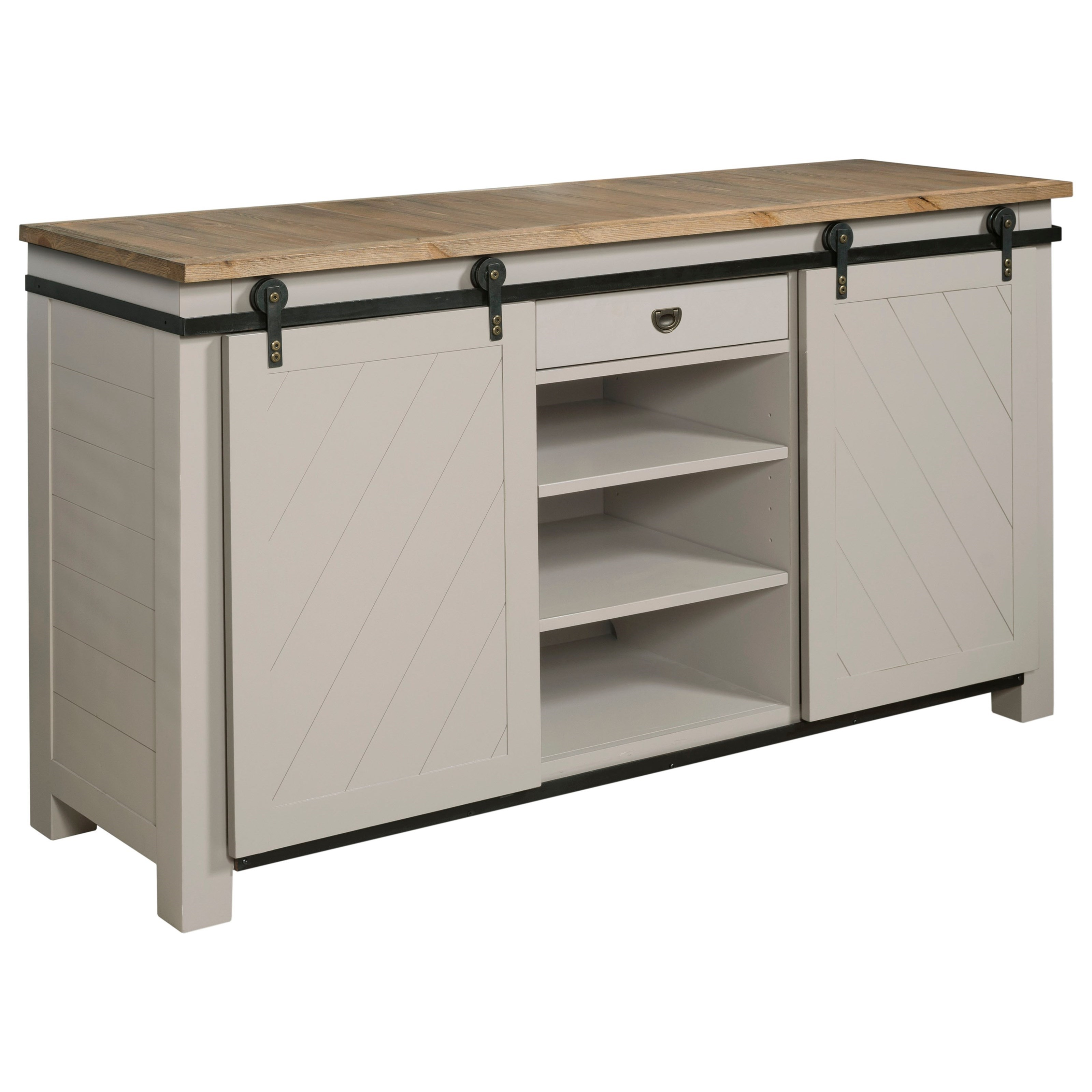 Hammary Junction Shiplap Sliding Door Media Console With Adjustable Shelves
