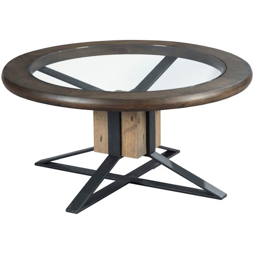 Hammary Junction Compass Cocktail Table with Tempered Glass Top