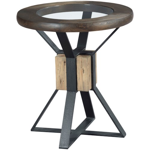Hammary Junction Compass End Table with Tempered Glass Top