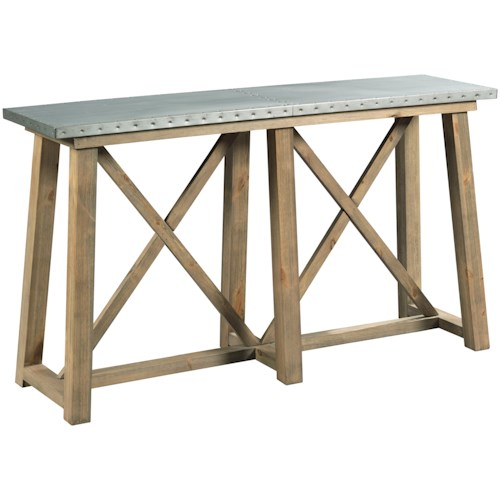 Hammary Junction Truss Sofa Table Metal Top