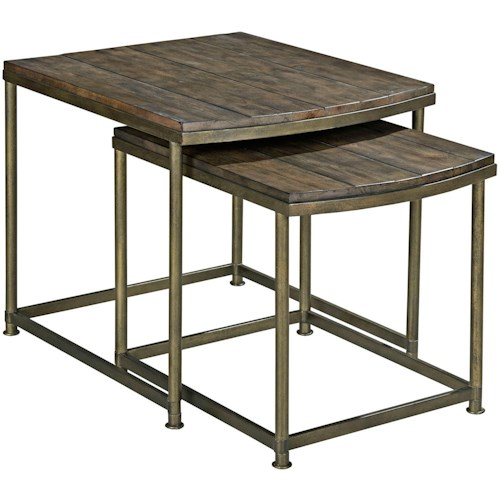 Hammary Leone Nesting End Table with Antique Brass Base