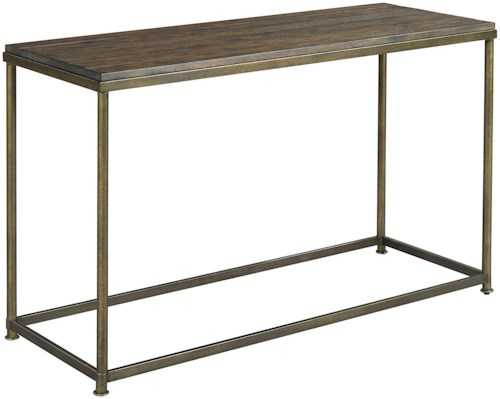 Hammary Leone Sofa Table with Antique Brass Base