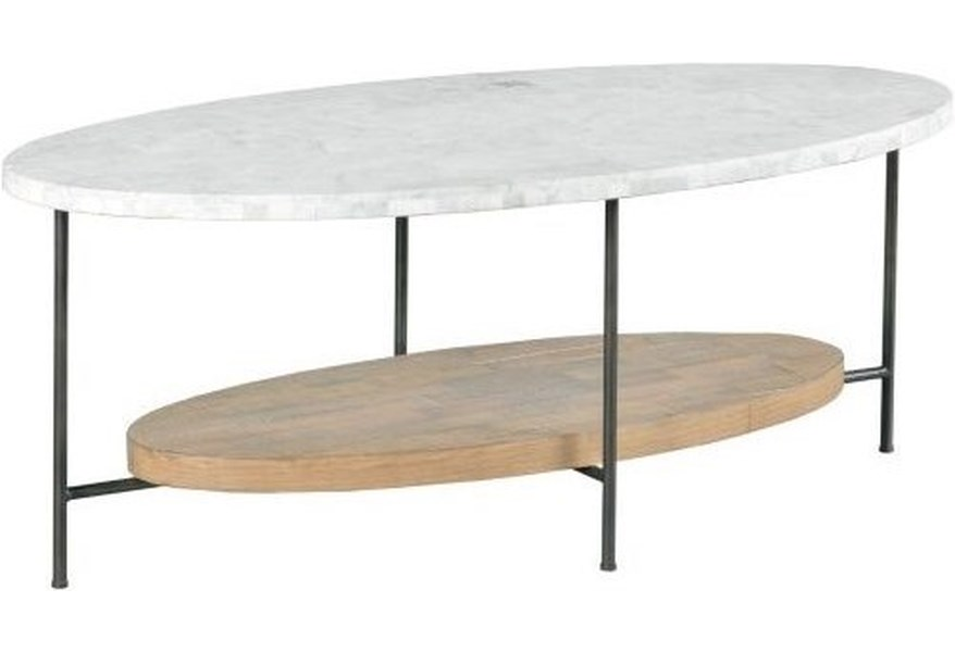 Hammary Madeira Industrial Oval Cocktail Table With Marble Top Lindy S Furniture Company Cocktail Coffee Tables
