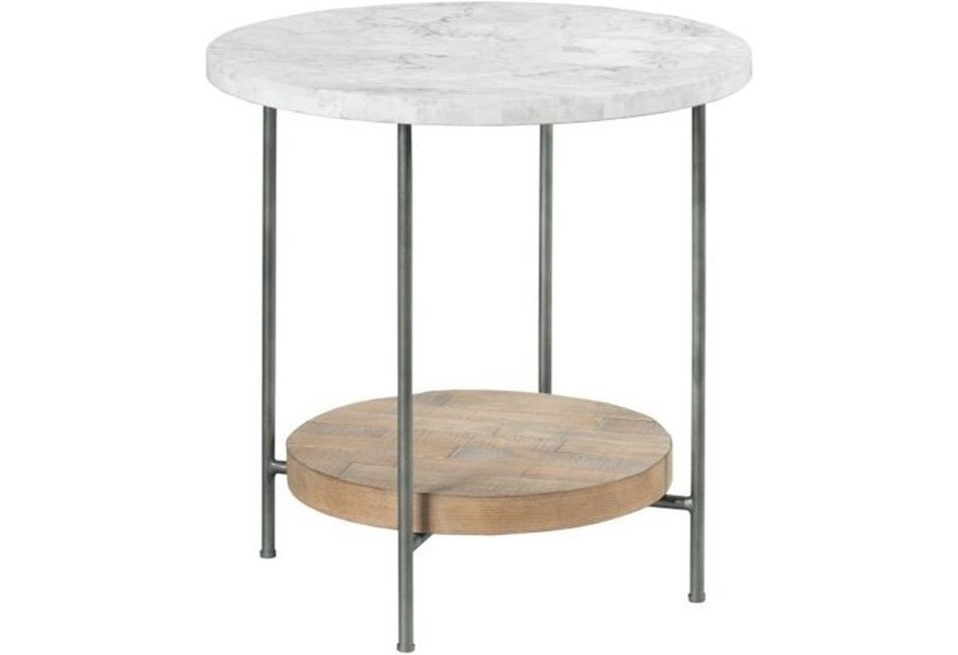 Hammary Madeira Industrial Round End Table With Marble Top Lindy S Furniture Company End Tables