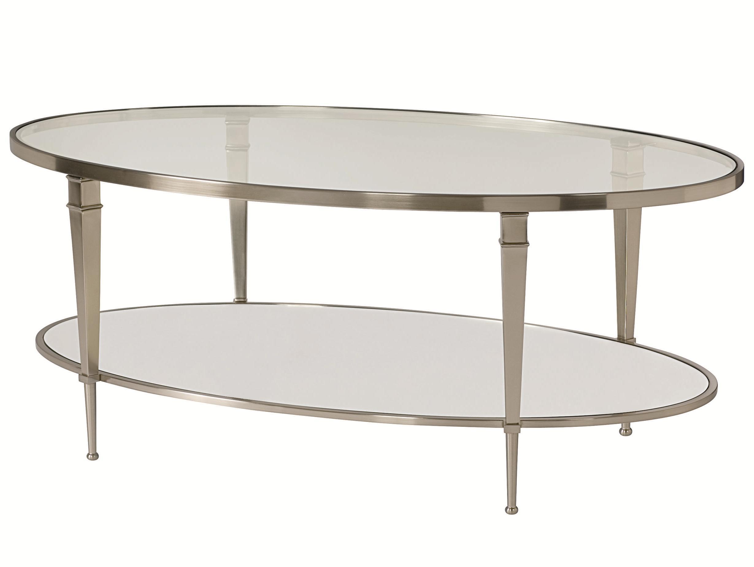 Bon Hammary Mallory Oval Satin Nickel Antique Mirror Finish Cocktail Table