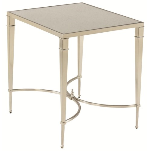 Hammary Mallory Silver Antique Mirror Top End Table