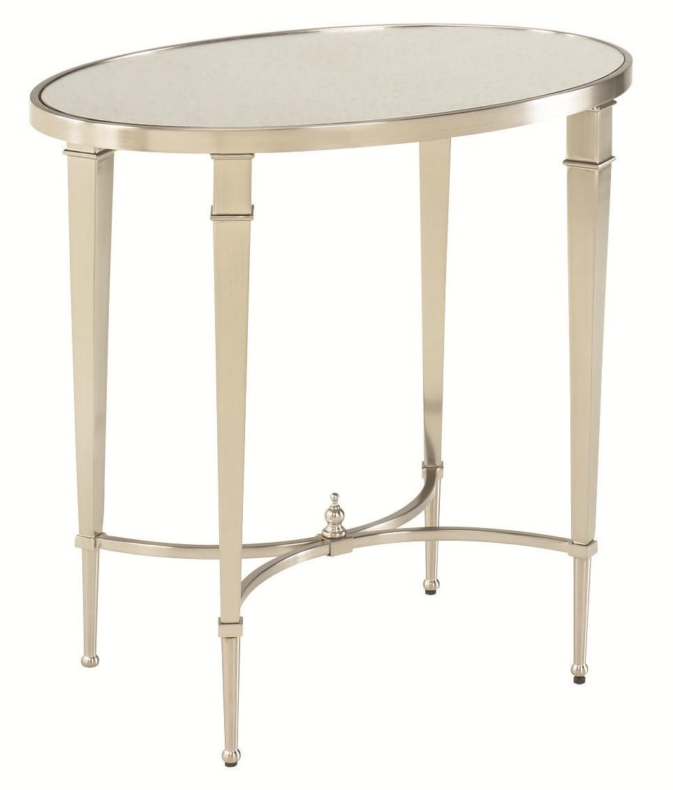 Attractive Hammary Mallory Antique Silver Nickel Oval End Table