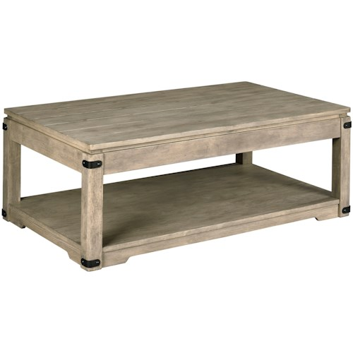 Hammary Marin Rustic Rectangular Lift-Top Cocktail Table with Removable Casters