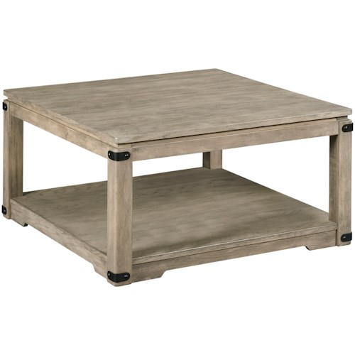 Hammary Marin Rustic Square Cocktail Table with Removable Casters
