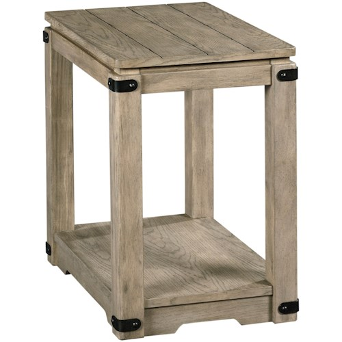 Hammary Marin Rustic Chairside Table with Metal Accents