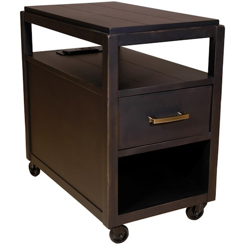 Hammary Marlowe Industrial Charging Chairside Table with USB Port and Casters