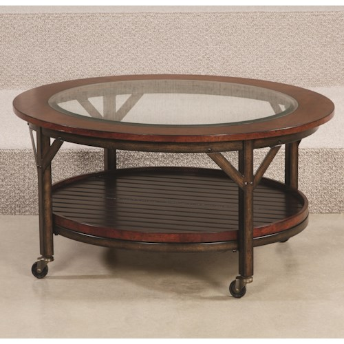 Hammary Mercantile Round Cocktail Table with 1 Fixed Shelf