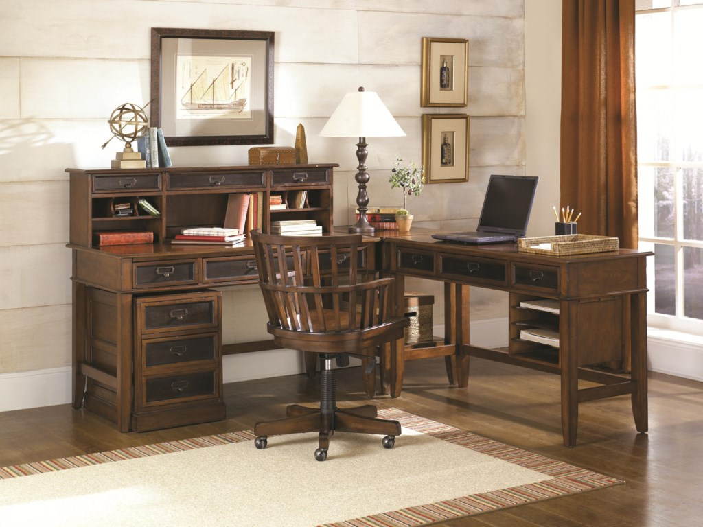Hammary MercantileL Shaped Desk and Credenza