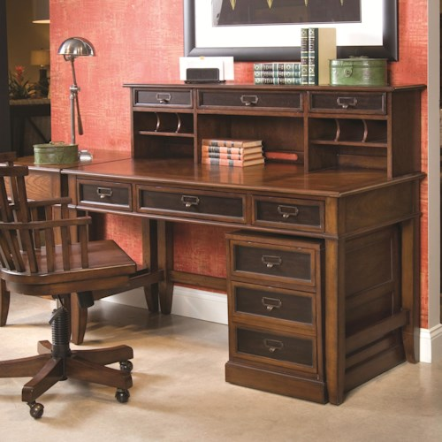 Hammary Mercantile Desk & Hutch with Rolling File