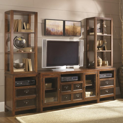 Hammary Mercantile Six-Drawer Two-Door Entertainment Wall Unit with Shelving Storage & Display Space