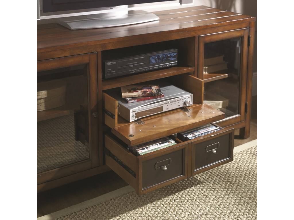 Wall Unit Features a Variety of Storage and Display Spaces