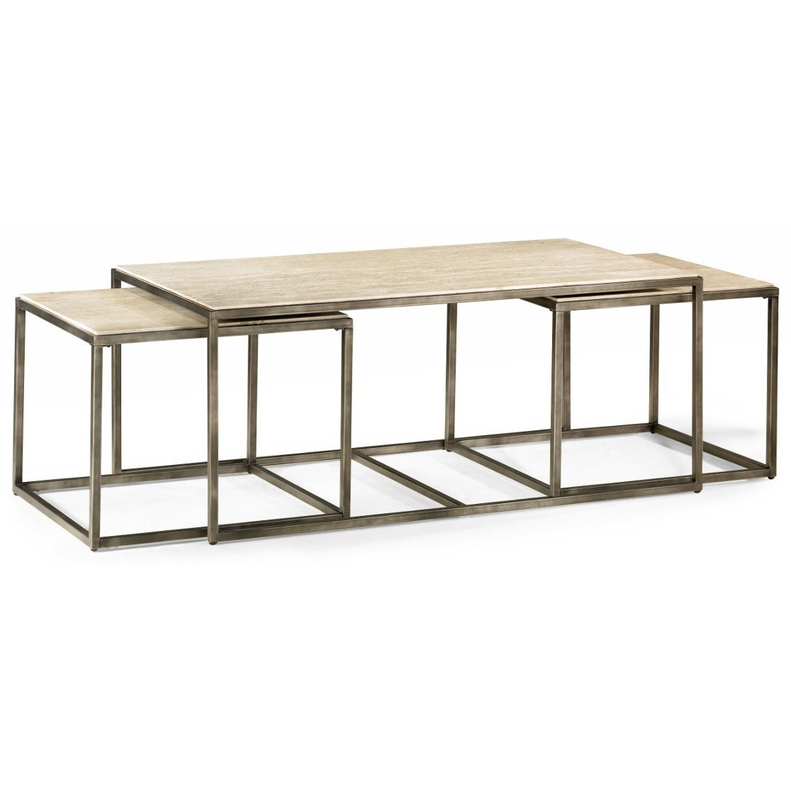 Modern Basics Rectangular Cocktail Table With Bronze With Nesting Tables    Morris Home   Cocktail/Coffee Tables
