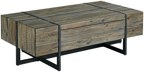 Hammary Modern Timber Rectangular Cocktail Table with Soft Close Drawer