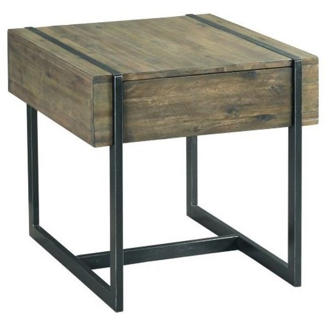 Hammary Modern Timber Industrial Style Rectangular Drawer End Table Wayside Furniture End Tables