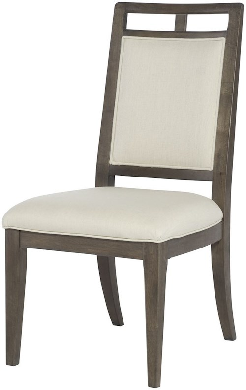 Hammary Park Studio Contemporary Wood Back Side Chair with Cream Upholstery