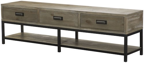 Hammary Parsons Bench Cocktail Table with Three Drawers and Base Shelf