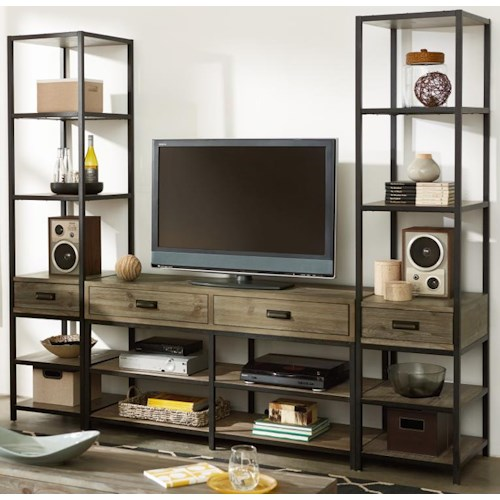 Hammary Parsons Entertainment Unit with Bookcase Piers
