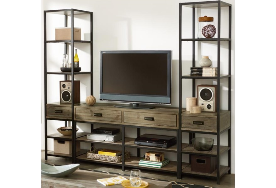 Hammary Parsons 444 925 2x580 Entertainment Unit With Bookcase Piers Upper Room Home Furnishings Wall Unit