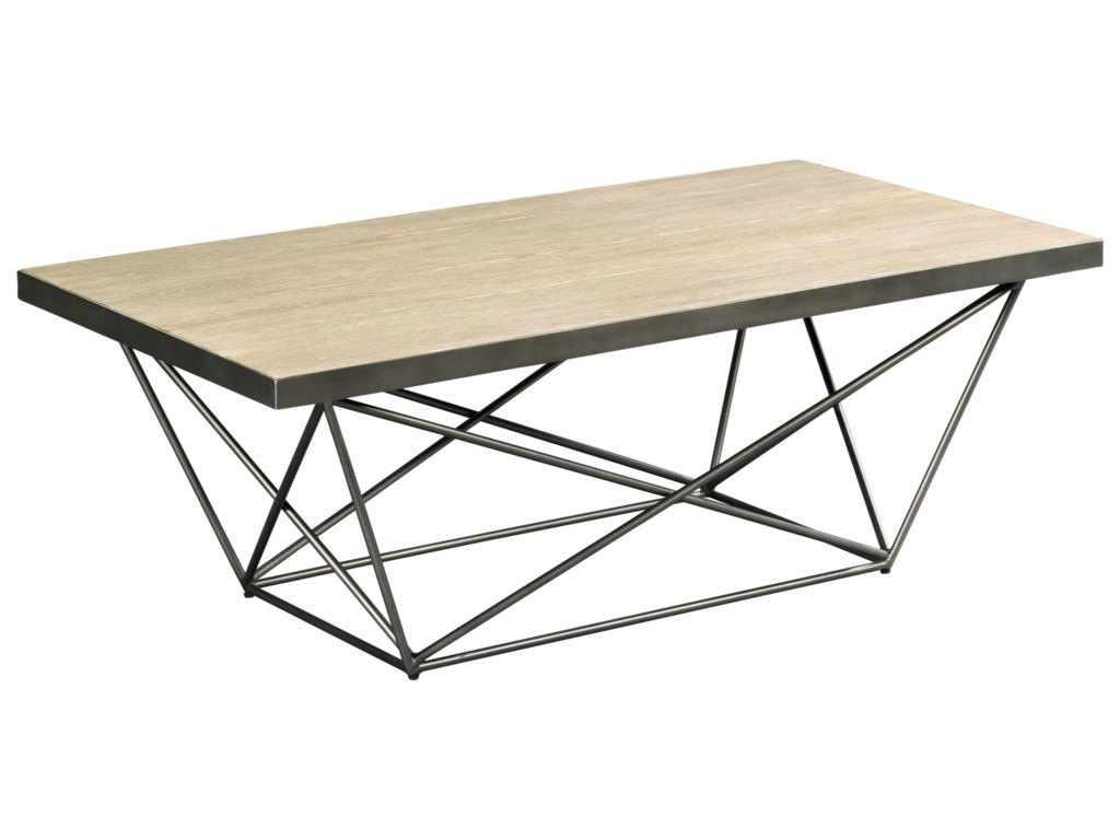 Rafters Contemporary Rectangular Cocktail Table With Geometric Base - Geometric base coffee table