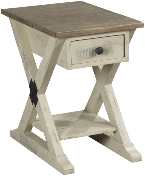 Hammary Reclamation Place                                  Farmhouse Chairside Table with Display Shelf