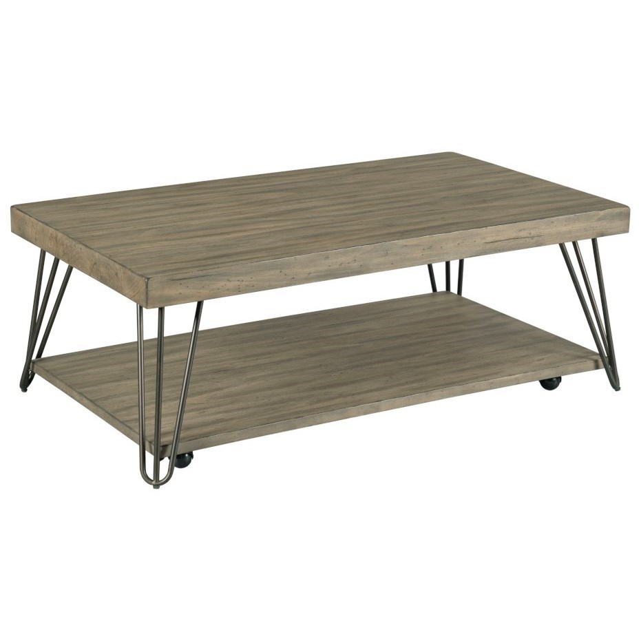 Mid Century Modern Rectangular Coffee Table with Removable Casters