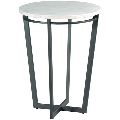 Hammary Sofia Contemporary Round Chairside Table With Marble Top