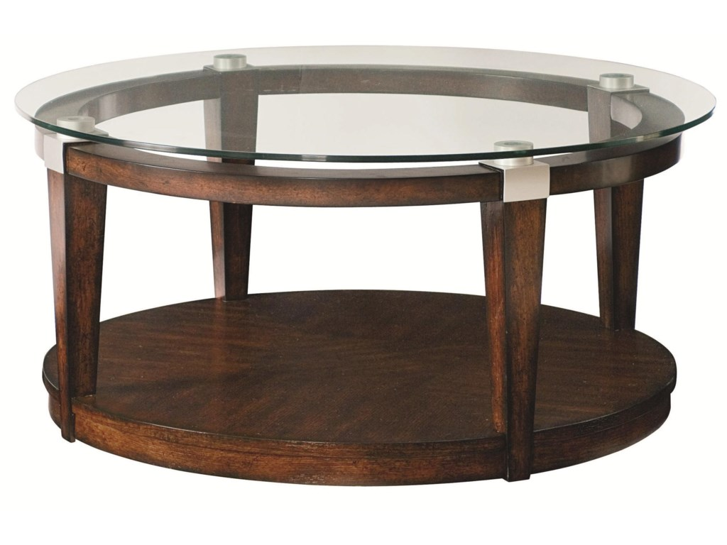 Solitaire Contemporary Round Coffee Table with Glass Top by Hammary at  Hudson's Furniture