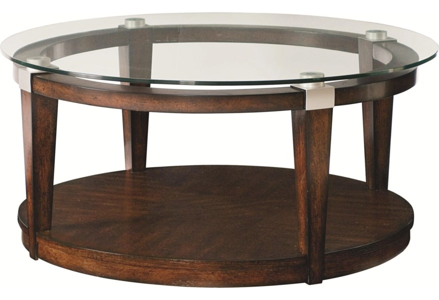 Hammary Solitaire Contemporary Round Coffee Table With Glass Top