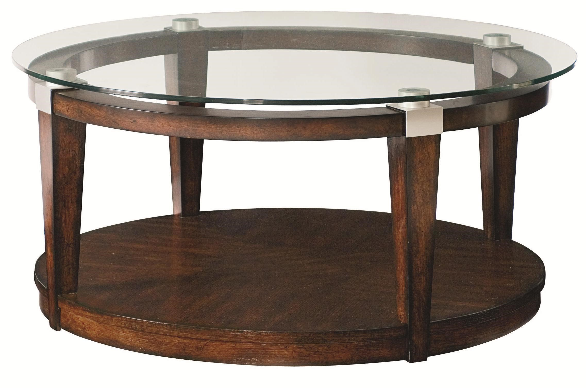 Hammary Solitaire Contemporary Round Coffee Table With Glass Top   Belfort  Furniture   Cocktail Or Coffee Table