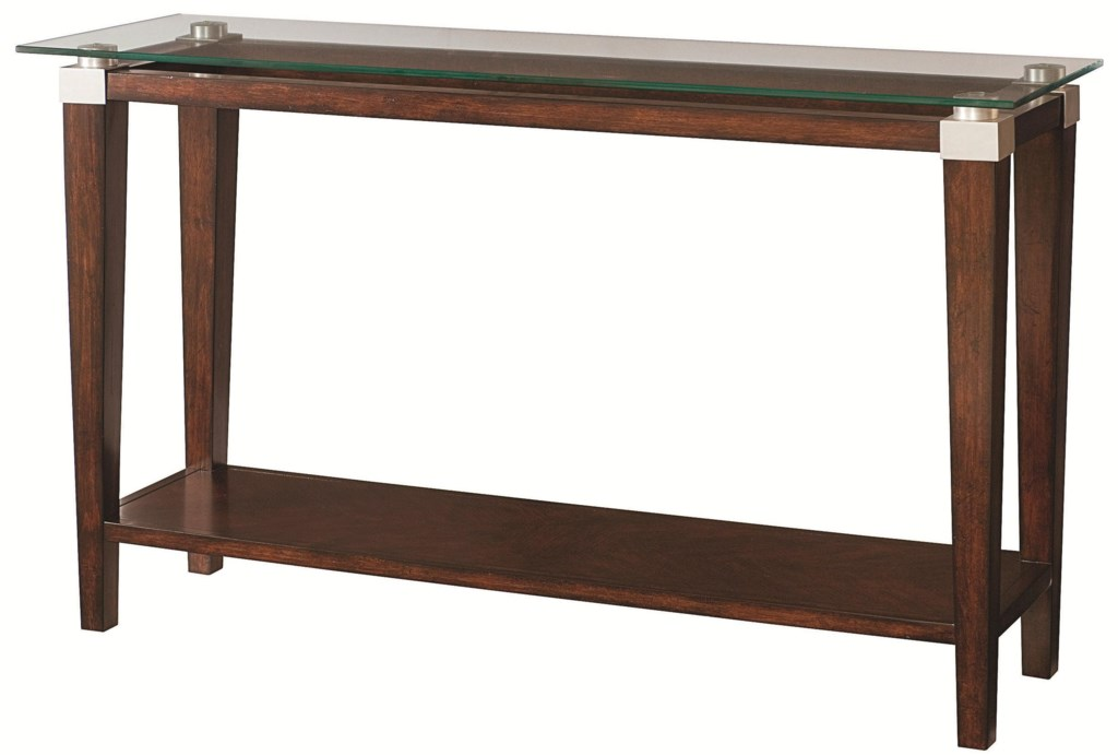 Hammary Solitaire Contemporary Sofa Table With Glass Top Wayside