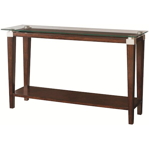 Hammary Solitaire Contemporary Sofa Table with Glass Top