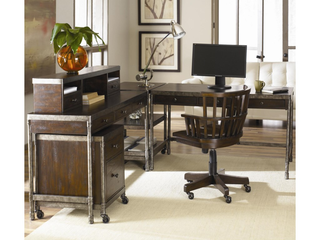 Rolling File Cabinet Shown in Room Setting with Desk Chair, Corner Table, Computer Desk and Hutch