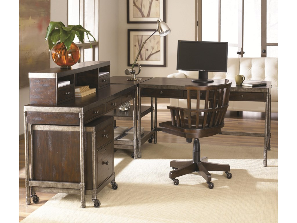 Computer Desk Shown in Room Setting with Hutch, Desk Chair, Corner Table and Rolling File Cabinet