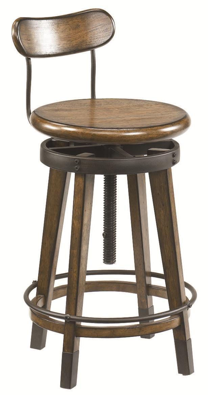hammary studio home urban weathered oak swivel adjustable stool