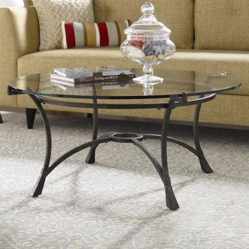 Hammary Sutton Contemporary Metal Round Tail Table With Gl Top