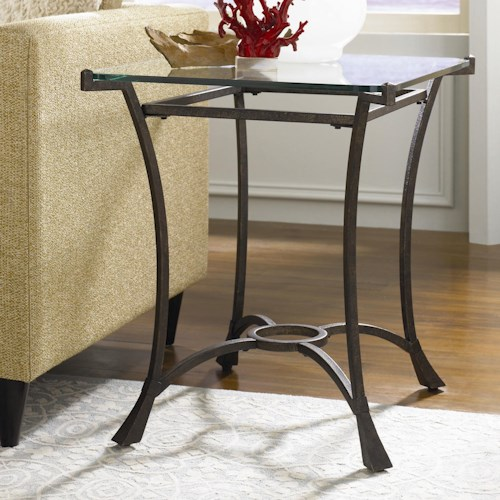 Hammary Sutton Contemporary Metal Rectangular End Table with Glass Top