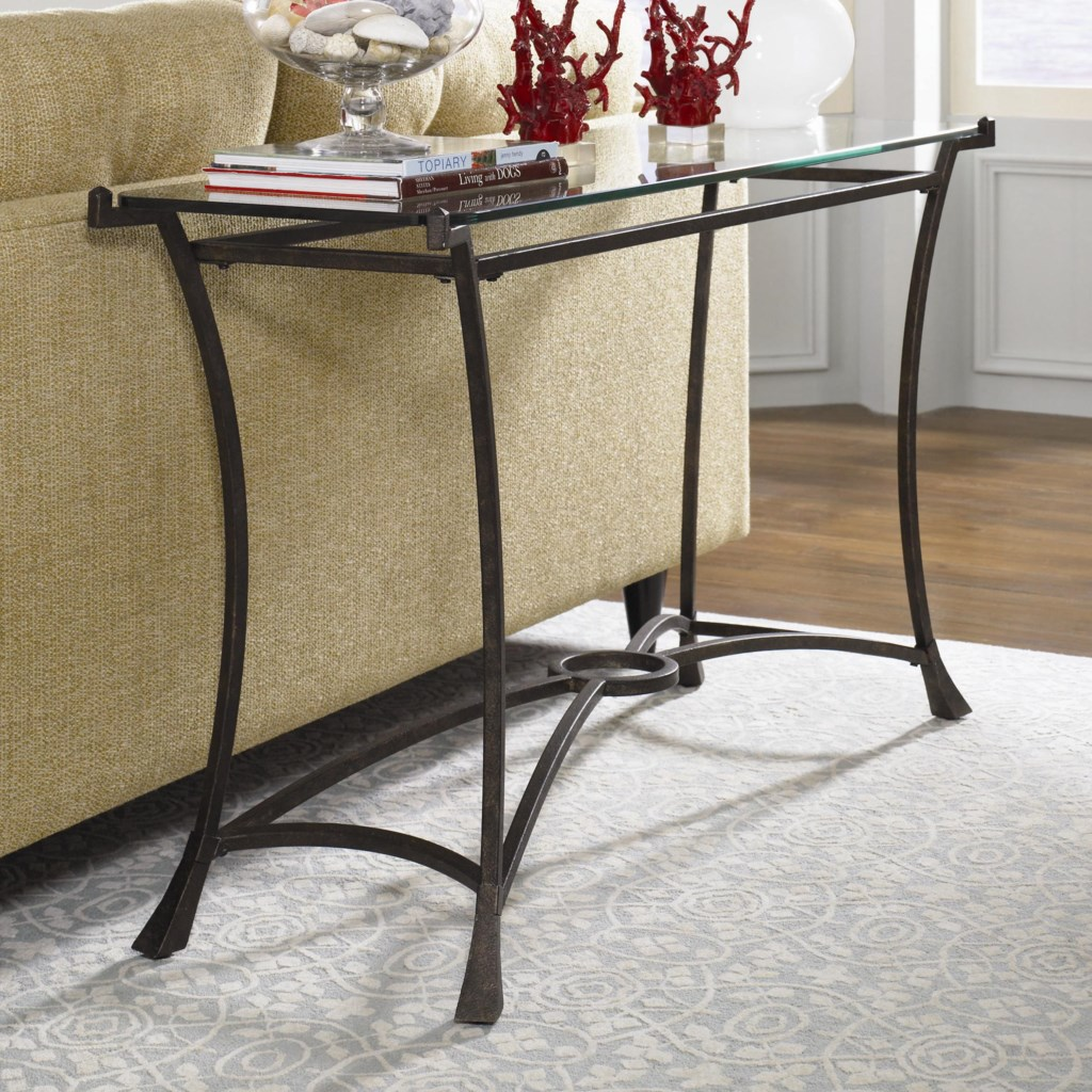 Hammary Sutton Contemporary Metal Sofa Table With Glass Top
