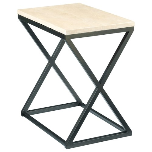 Hammary Sympli Chairside Table with Travertine Top