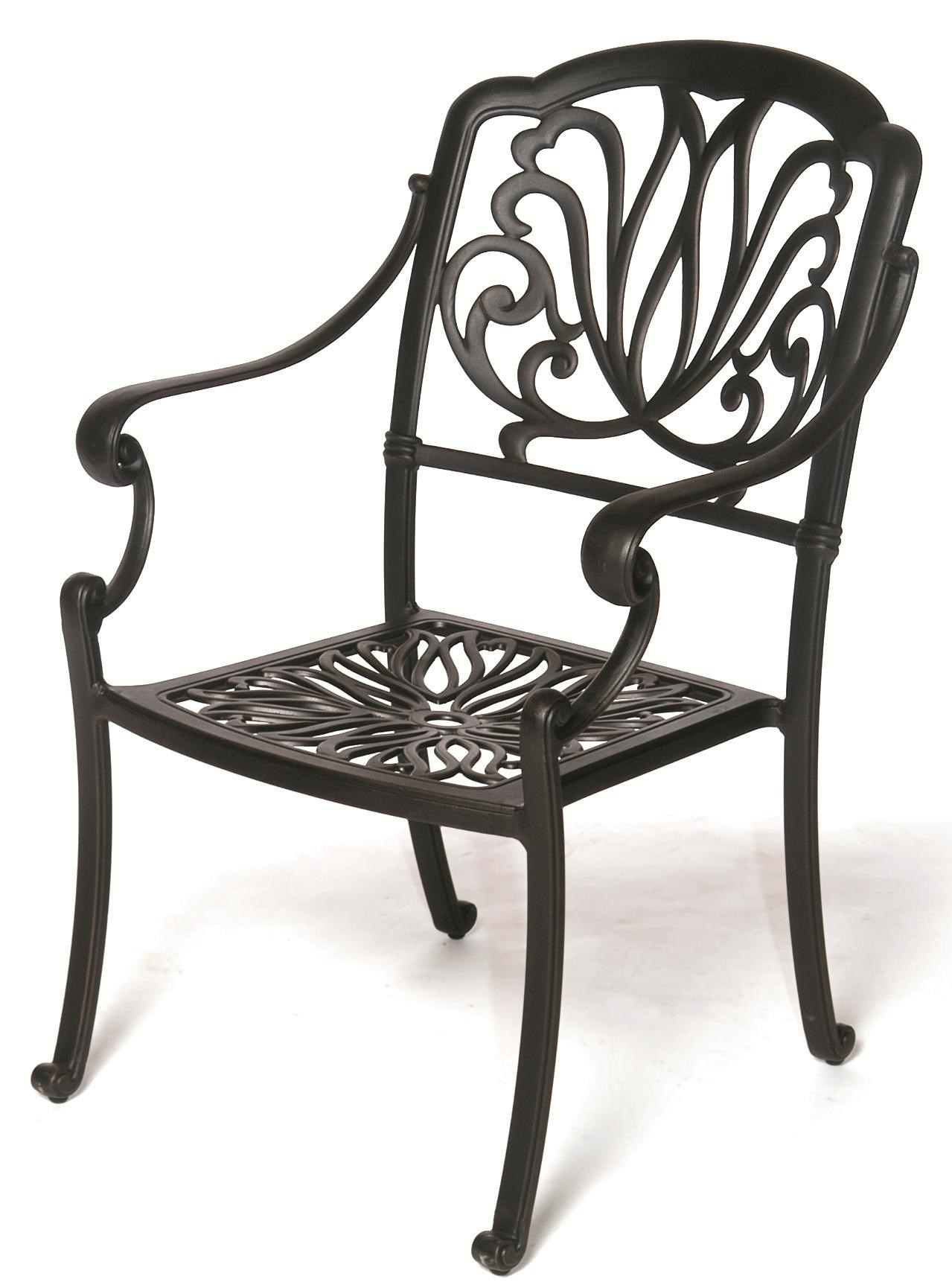 biscayne outdoor aluminum arm chair with ornate casting and shapely legs by hanamint