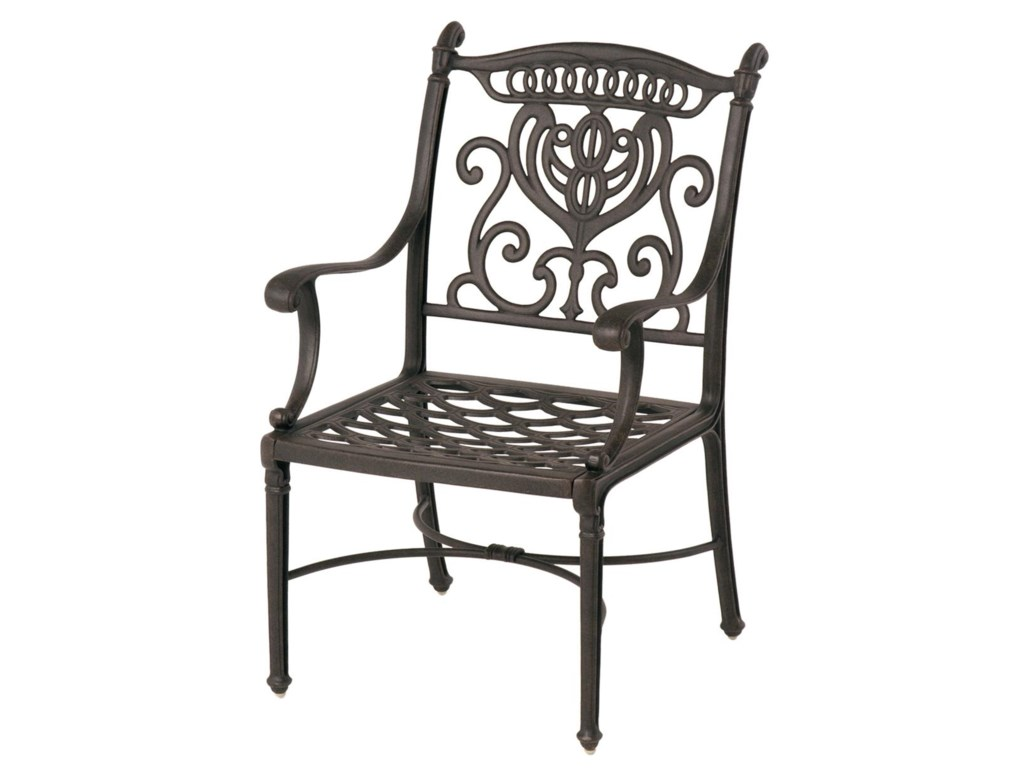 Metal outdoor dining chairs - Grand Tuscany 048150 Outdoor Aluminum Dining Chair With Scroll Arms By Hanamint