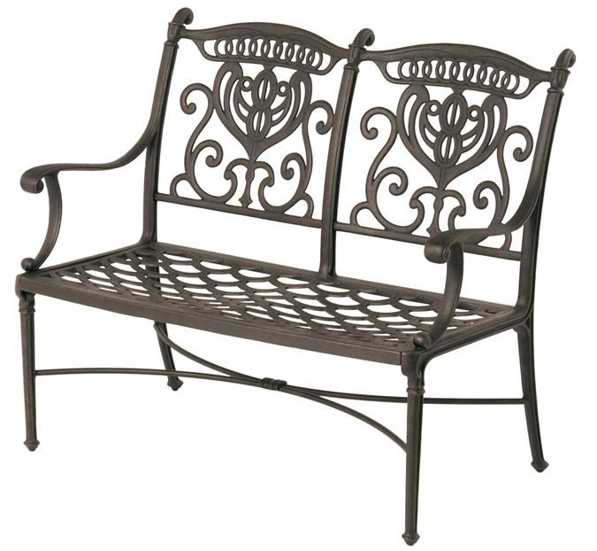 Grand Tuscany Outdoor Aluminum Bench With Scroll Arms By Hanamint