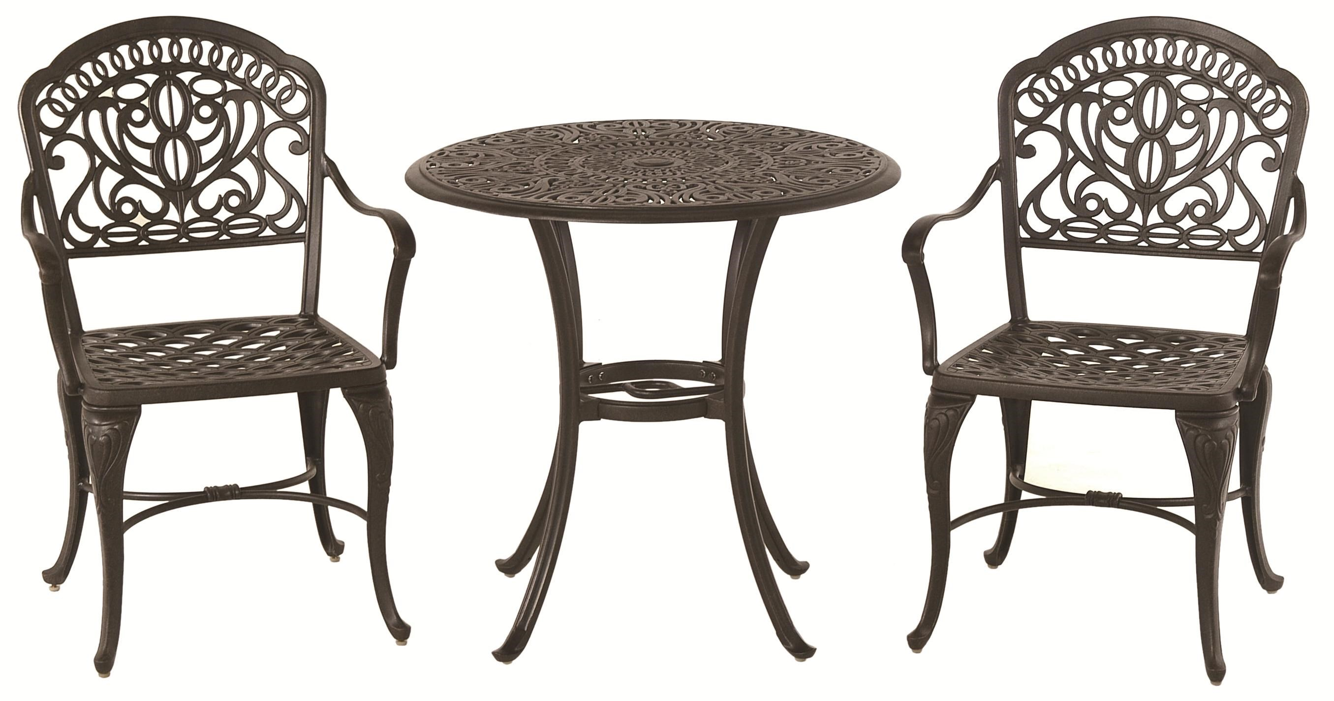 Great Tuscany 018001 3 Piece Bistro Set With Ornate Casting And Detailed Legs By  Hanamint